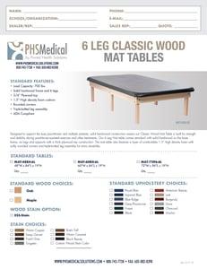 6 Leg Classic Wood Mat Table Data Sheet