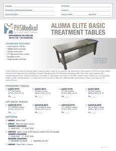 Aluma Elite Basic Treatment Table Data Sheet