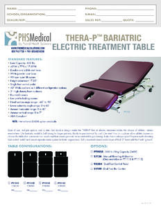 Thera-P Bariatric Electric Treatment Table Data Sheet