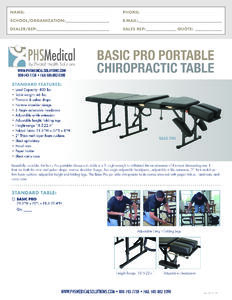 Basic PRO Portable Chiropractic Table Data Sheet