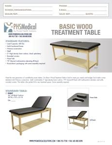 Basic Wood Treatment Table Data Sheet