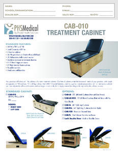 CAB-010 Treatment Cabinet Data Sheet