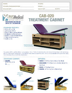 CAB-020 Treatment Cabinet Data Sheet