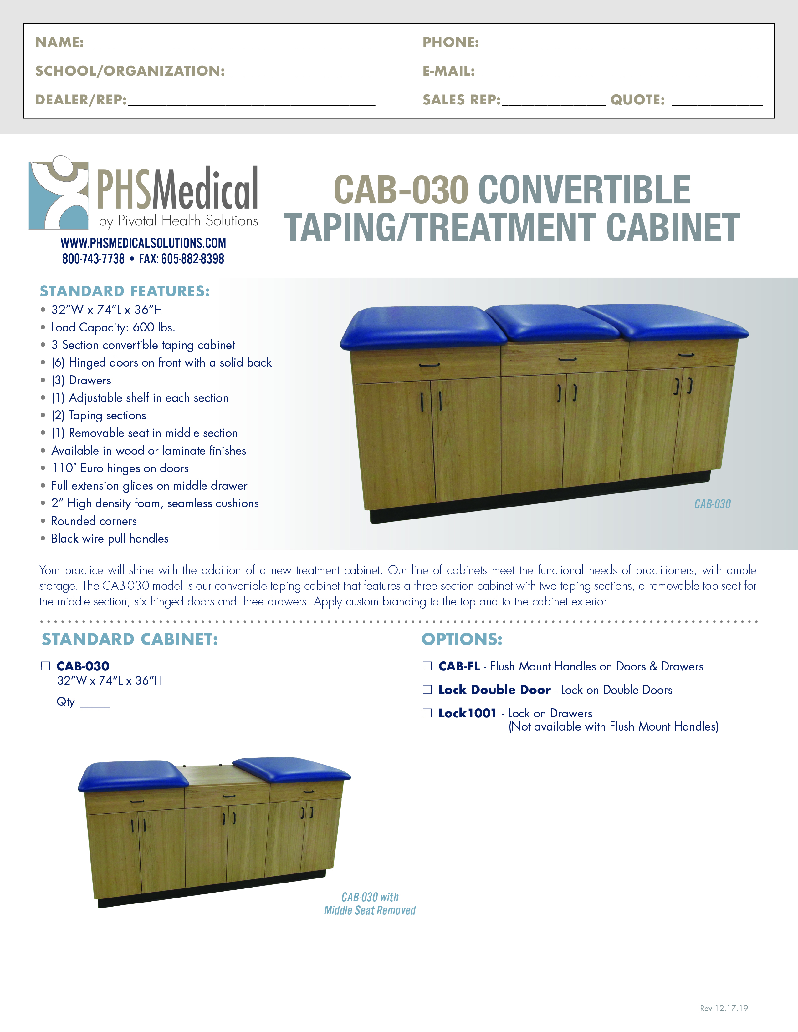 CAB-030 Convertible Taping/ Treatment Cabinet Data Sheet