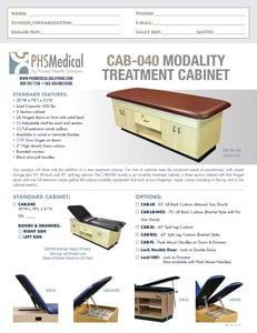 CAB-040 Modality Treatment Cabinet Data Sheet