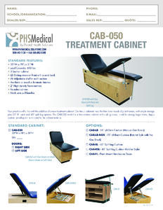 CAB-050 Treatment Cabinet Data Sheet