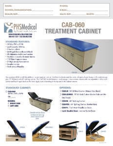 CAB-060 Treatment Cabinet Data Sheet