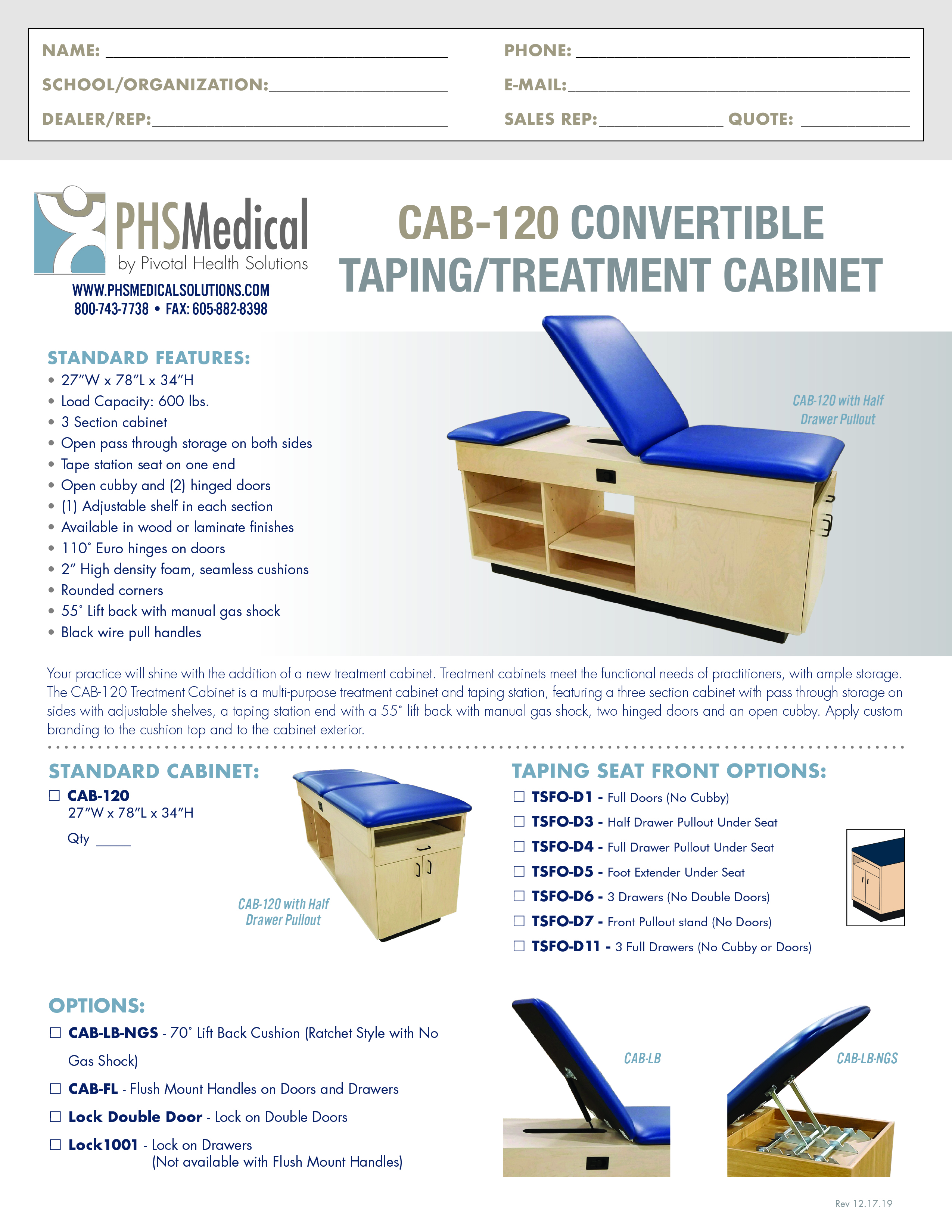 CAB-120 Convertible Taping/Treatment Cabinet Data Sheet