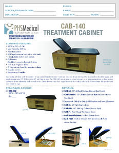 CAB-140 Treatment Cabinet Data Sheet