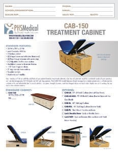CAB-150 Treatment Cabinet Data Sheet