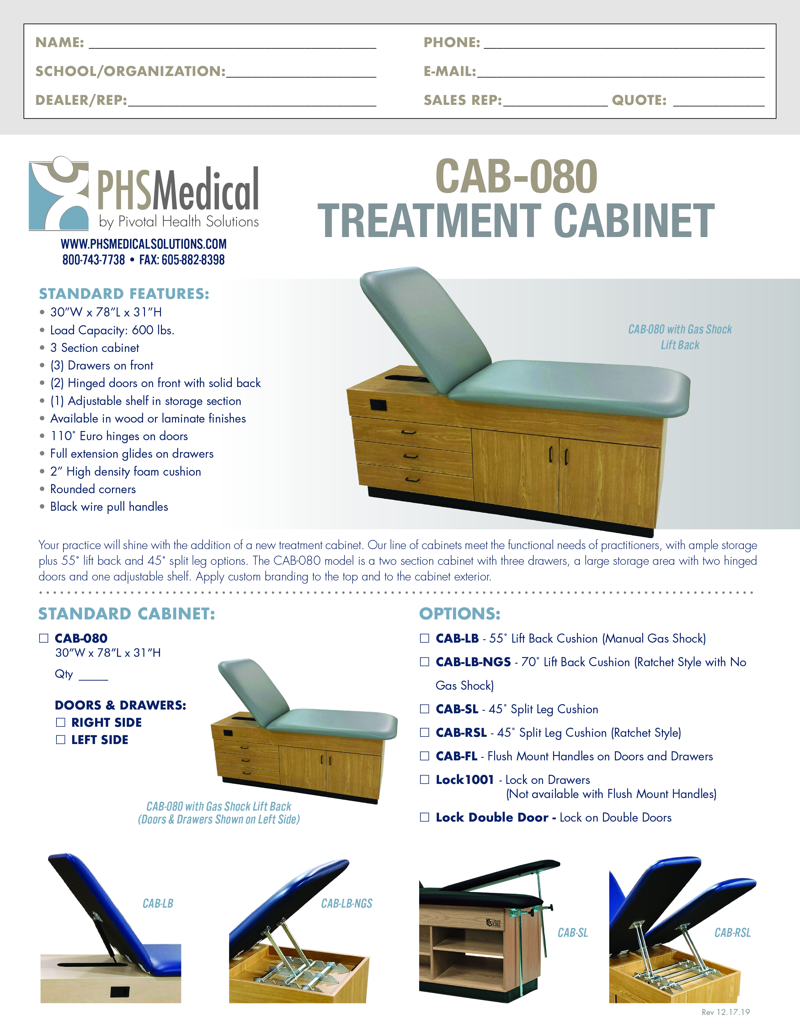 CAB-080 Treatment Cabinet Data Sheet