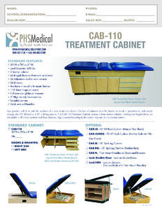 CAB-110 Treatment Cabinet Data Sheet