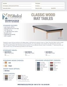 Classic Wood Mat Table Data Sheet