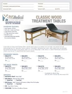 Classic Wood Treatment Table Data Sheet