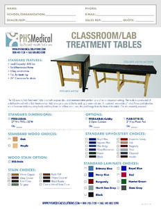 Classroom/Lab Treatment Table Data Sheet