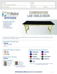 Combination Lab Table/Desk Data Sheet