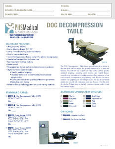 Doc Decompression Table Data Sheet
