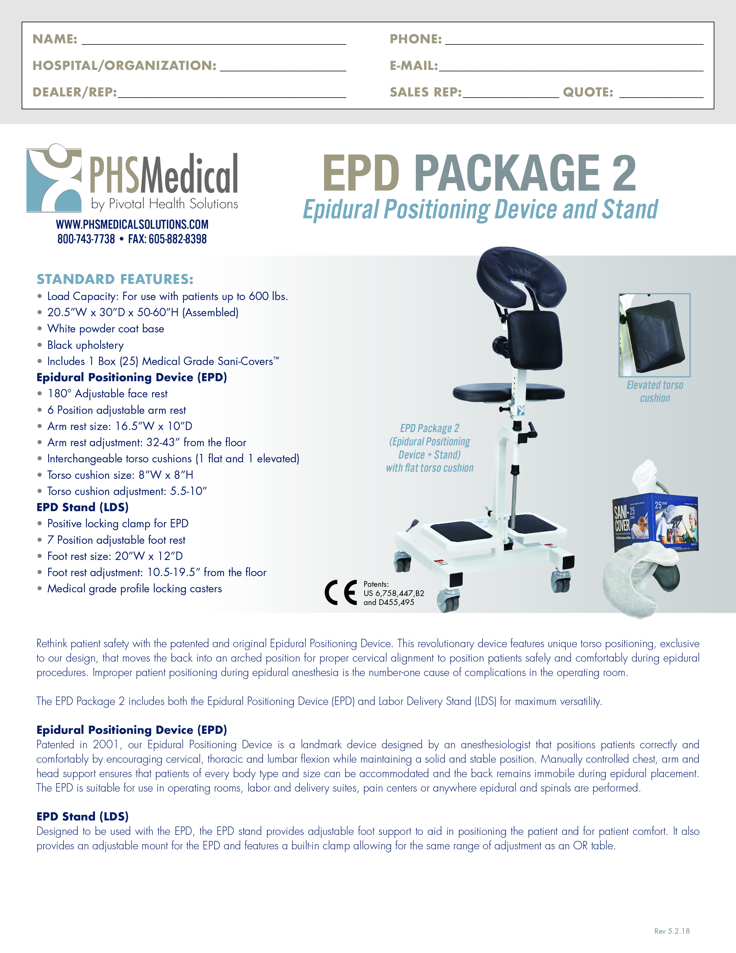 EPD Package 2 (Epidural Positioning Device) Data Sheet