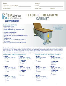 Electric Treatment Cabinet Data Sheet