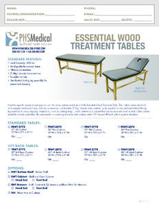 Essential Wood Treatment Table Data Sheet