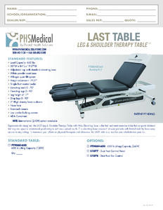 Leg & Shoulder Therapy (LAST) Table Data Sheet