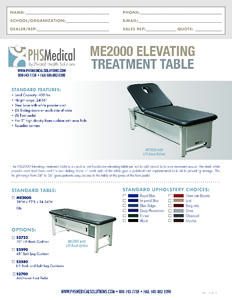 ME2000 Elevating Treatment Table Data Sheet