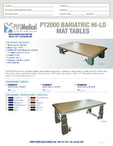 PT2000 Bariatric Hi-Lo Mat Table Data Sheet
