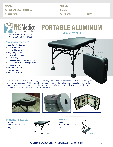 Portable Aluminum Treatment Table Data Sheet
