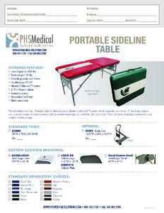 Portable Sideline Table Data Sheet