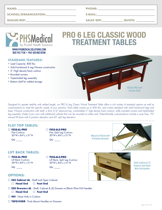 PRO 6 Leg Classic Wood Treatment Table Data Sheet