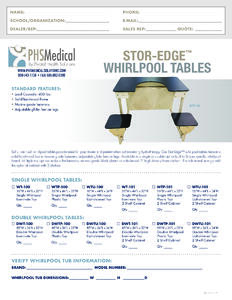 Stor-Edge Double Whirlpool Tables Data Sheet