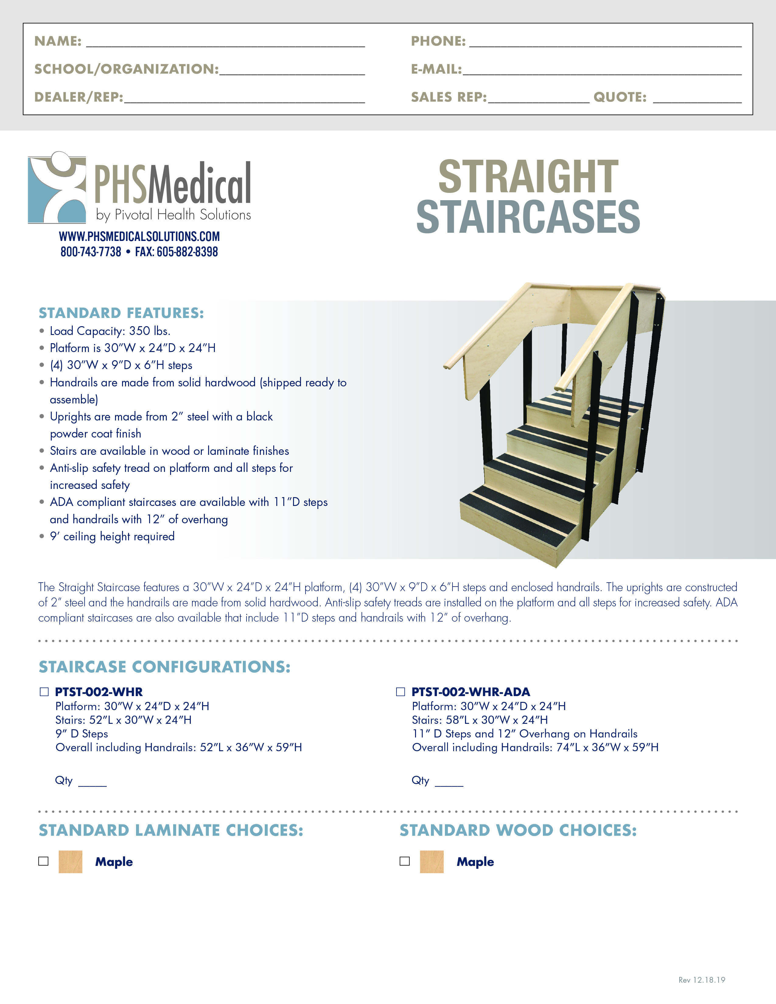 Straight Staircases Data Sheet