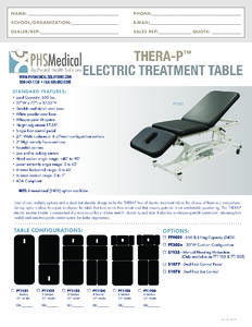 Thera-P Electric Treatment Table Data Sheet