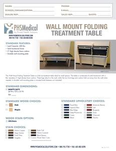 Wall Mount Folding Treatment Table Data Sheet