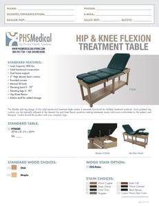 Hip & Knee Flexion Treatment Table Data Sheet