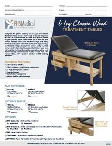 6 Leg Classic Wood Treatment Table Data Sheet
