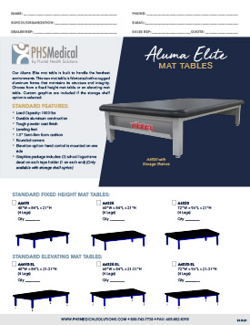 Aluma Elite Mat Table Data Sheet