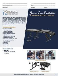Basic PRO Portable Chiropractic Table Data Sheet