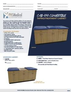 CAB-030 Convertible Taping/ Treatment Cabinet Data Sheet