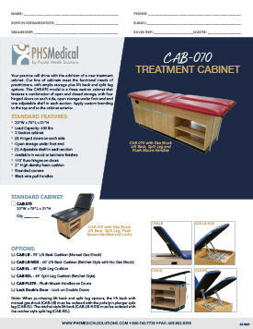 CAB-070 Treatment Cabinet Data Sheet