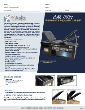 CAB-090N Treatment & Recovery Cabinet Data Sheet