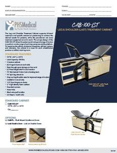 CAB-100-LST Leg & Shoulder Treatment (LAST) Cabinet Data Sheet