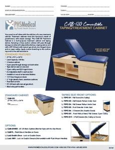 CAB-120 Convertible Taping/Treatment Cabinet Data Sheet