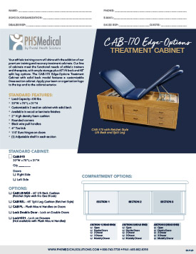 CAB-170 Edge Options Treatment Cabinet with Solid Back Data Sheet