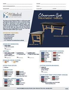 Classroom/Lab Treatment Table Data Sheet