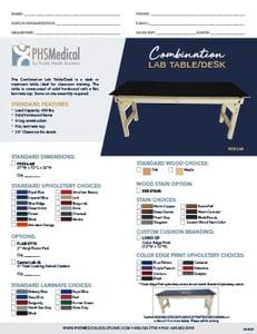 Combination Lab Table/Desk Data Sheet