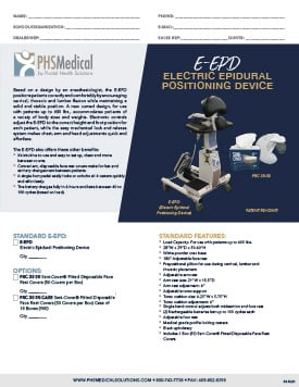 E-EPD (Electric Epidural Positioning Device) Data Sheet