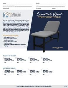 Essential Wood Treatment Table Data Sheet