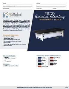 ME2001 Bariatric Elevating Treatment Table Data Sheet
