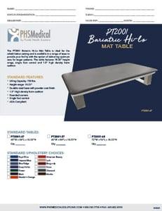 PT2001 Bariatric Hi-Lo Mat Table Data Sheet